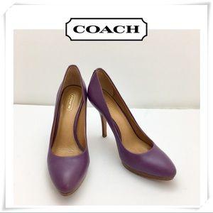 Just in💫 Coach Dark Purple Leather 4 Inch Heel